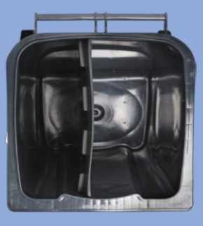 2-kammersystemet består af en 240 liter beholder, som indvendigt er opdelt i to kamre.