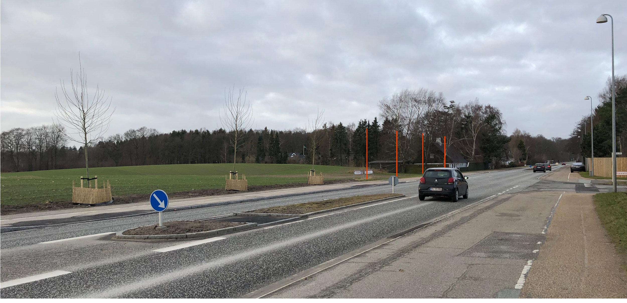 Som det ses påfotoet,mangler der fire platantræer, for at gøre rækken helt færdig - mon der ikke er råd til det? Foto: AOB