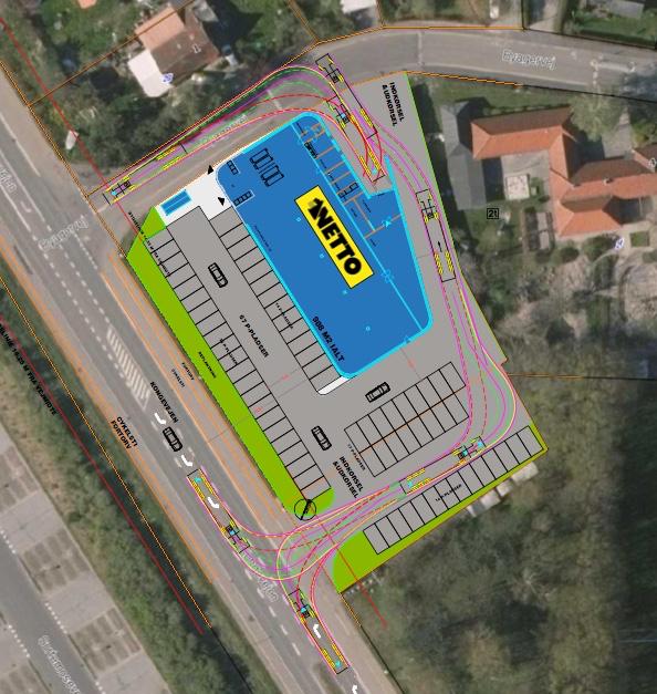 Den fremtidige ind- og udkørsel til Nettos p-pladser vil ske direkte fra/til Kongevejen. llustration: BoCon Projekt ApS