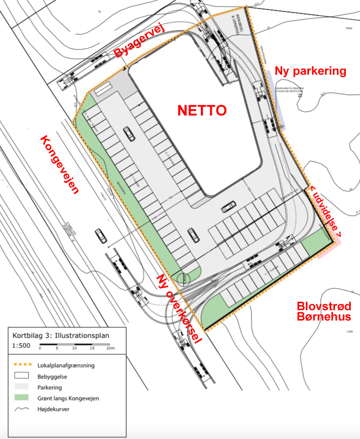 Illustrationsplan fra lokalplanforslaget, som viser den nye overkørsel direkte fra Kongevejen til Netto, og som udføres ved parkeringspladsens udvidelse mod syd. Fremhævede tekster: AOB