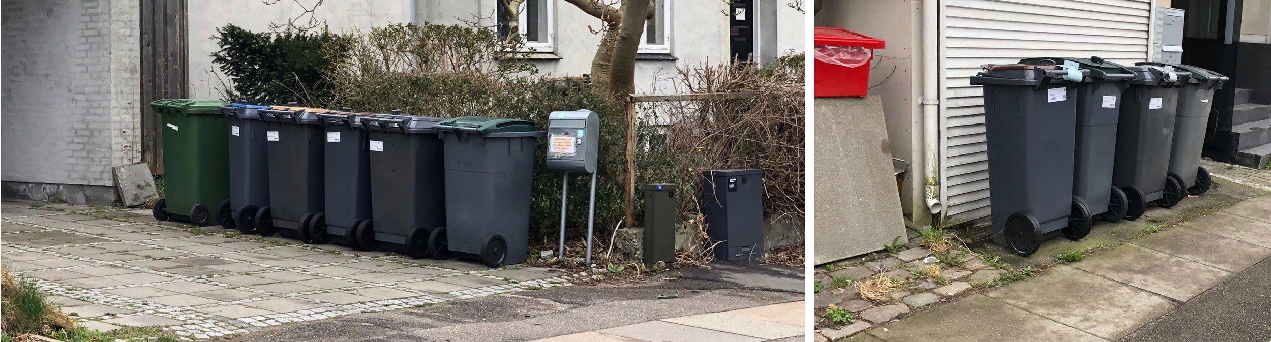 Her er eksempler på, hvor voldsomt gadebilledet kan blive. Mange steder har man simpelthen ikke mulighed for at gemme affaldsbeholderne væk, og nogle steder står alle beholderne fremme ved fortovskanten. Er det særlig kønt og en superløsning?Foto: AOB