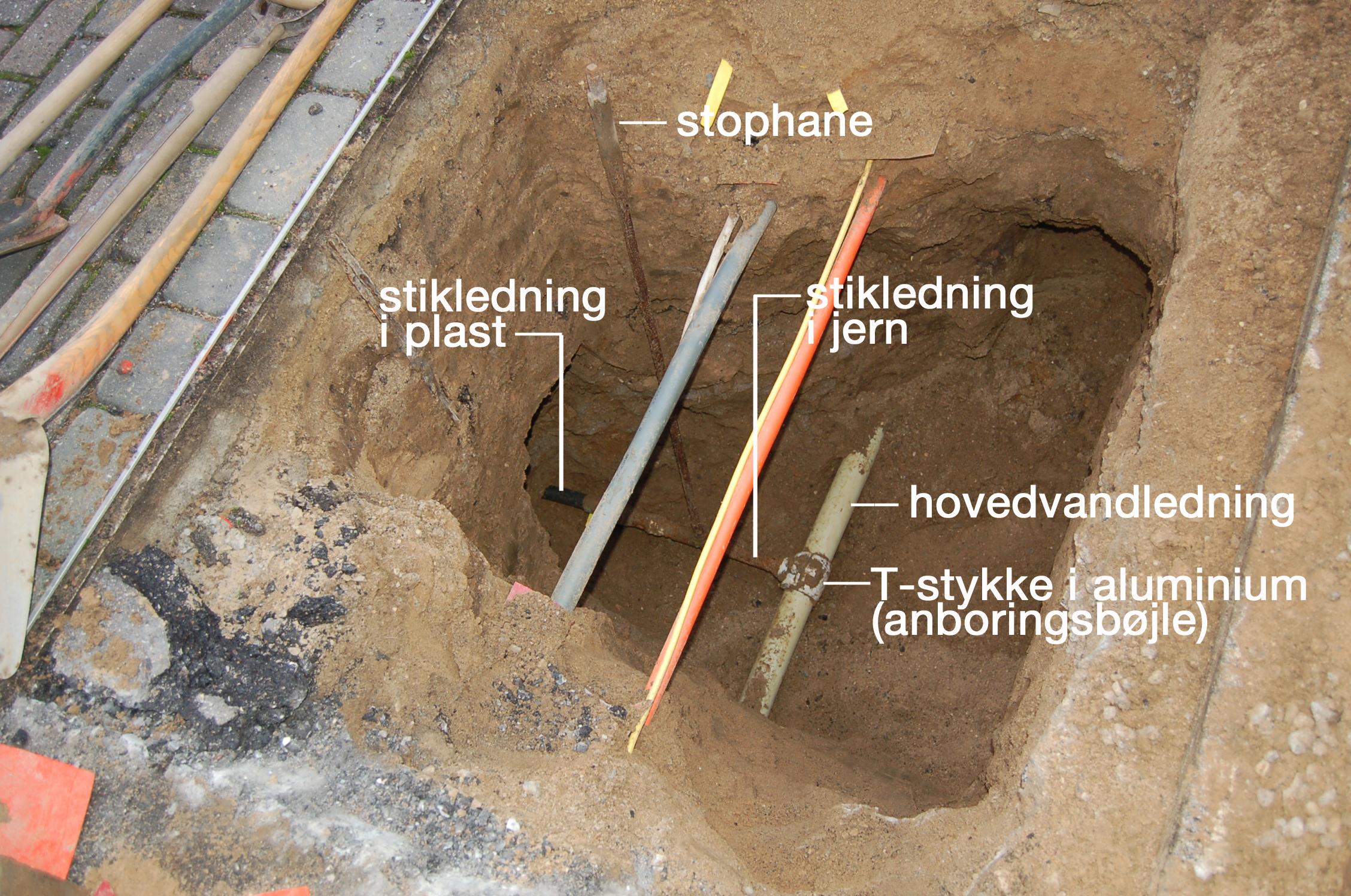 Som det fremgår ligger der en del forskellige forsyningsledninger i fortovene, og aller nederst ligger hovedvandledningen. Det er anboringsbøjlen samt stophanen og jern-stikledningen, der bliver udskiftet. Foto/tekst: AOB