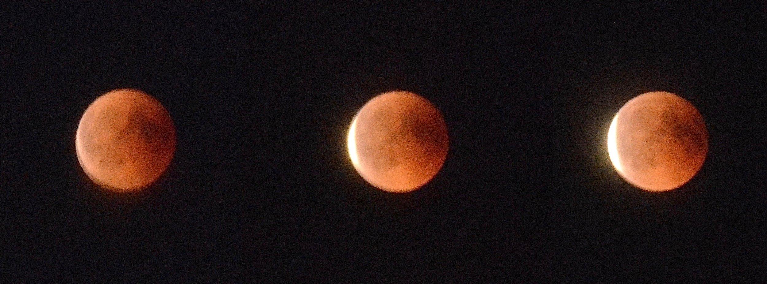 Disse billeder er taget sidst i fasen, hvor måneformørkelsen er ved at slutte, og månen får i venstre side sin bleggule farve igen. Foto:AOB