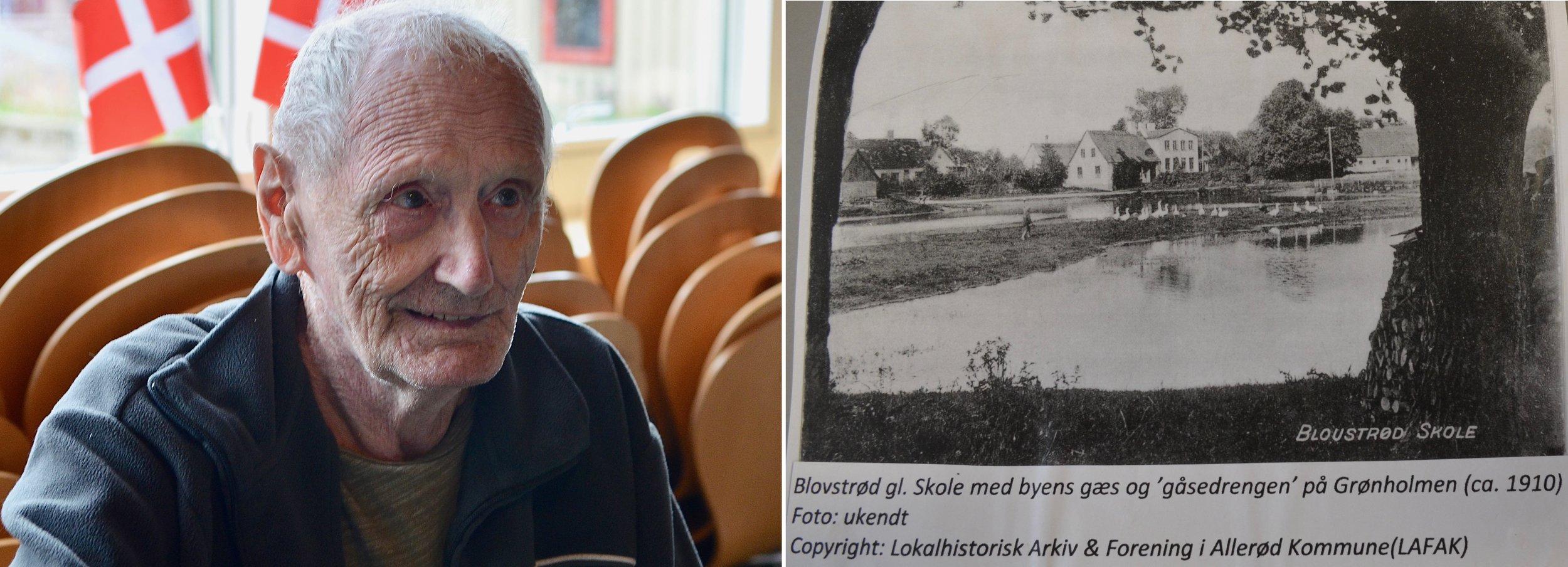 Den 88-årige Blovstrød-borger, Leif Nielsen, var med til fødselsdagen og fortalte, at han tydeligt kunne huske den gamle hvide, stråtækte skole, som lå helt ned til gadekæret. Børge var elev på skolen, også da de nye bygninger blev åbnet i 1938. Foto: AOB