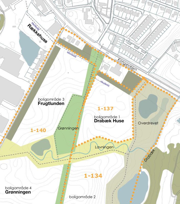 Ovenstående kort er fra Lokalplan1-140, hvor AOB har tydeliggjort den kommede skolesti.
