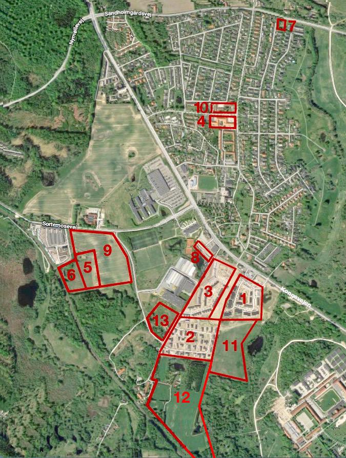 AOB har udarbejdet en oversigt over hvor og hvornår der bliver bygget i Blovstrød i de næste 10 år. Tallene i parentes er ca.-antal boliger i det pågældende område.   1 Drabæk Huse (73)    2 Grønningen (46)    3 Frugtlunden (80)    4 Sjælsø Alle 1 - 7 (31)    5 Teglskoven, almene boliger (115)    6 Teglskoven (35)    7 Parkvej (4)    8 Boliger bag kroen (20)    9 Teglværkskvarteret (160)    10 Græsmarken 8 (15)    11 Nye Blovstrød, B2 (50)    12 Sandersvej (90)    13 Teglværkskvarteret, B5 (30)