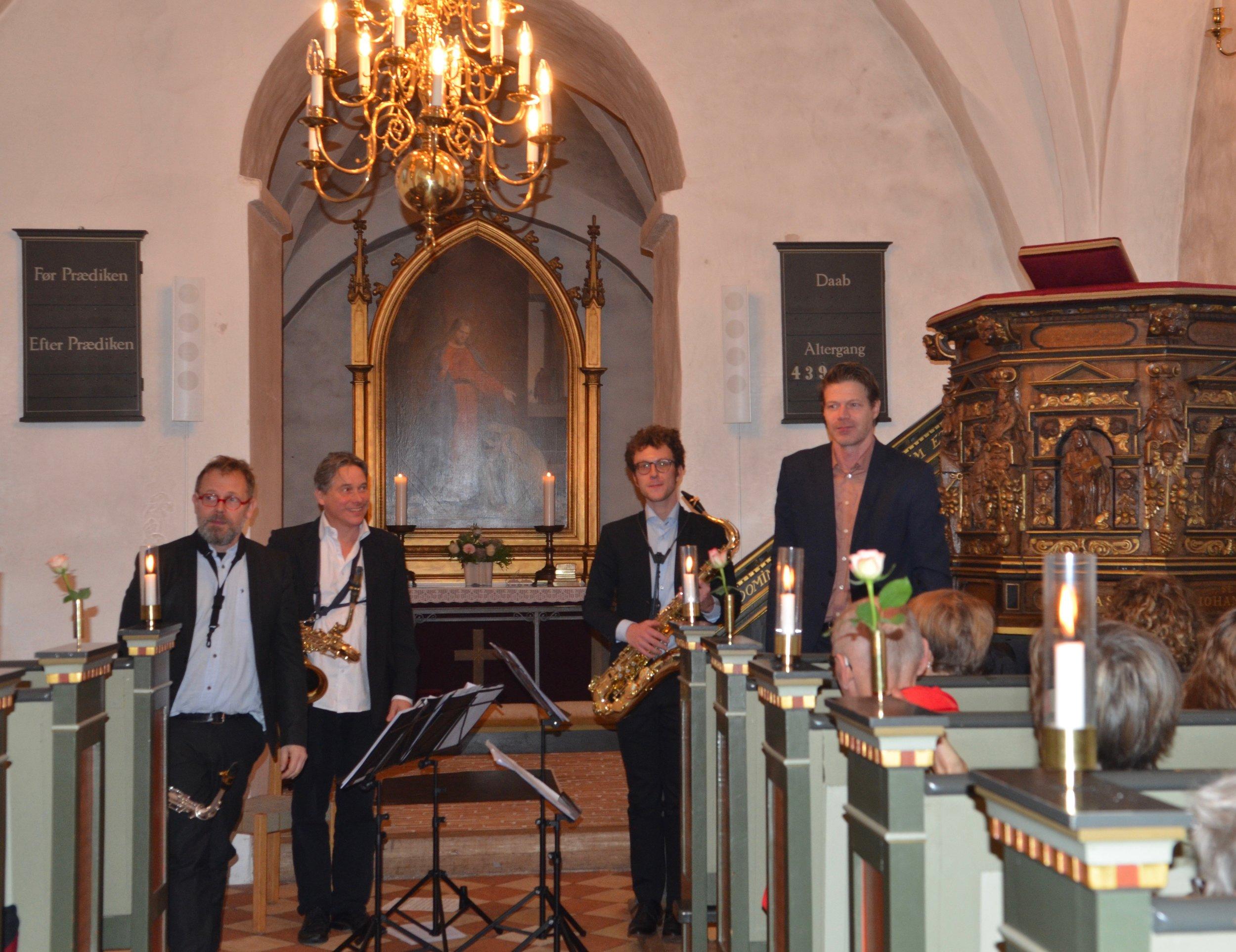 'Ny Dansk Saxofonkvartet' spillede et meget varieret repertoire fra Johan Sebastian Bach til George Gerschwin. Foto: AOB