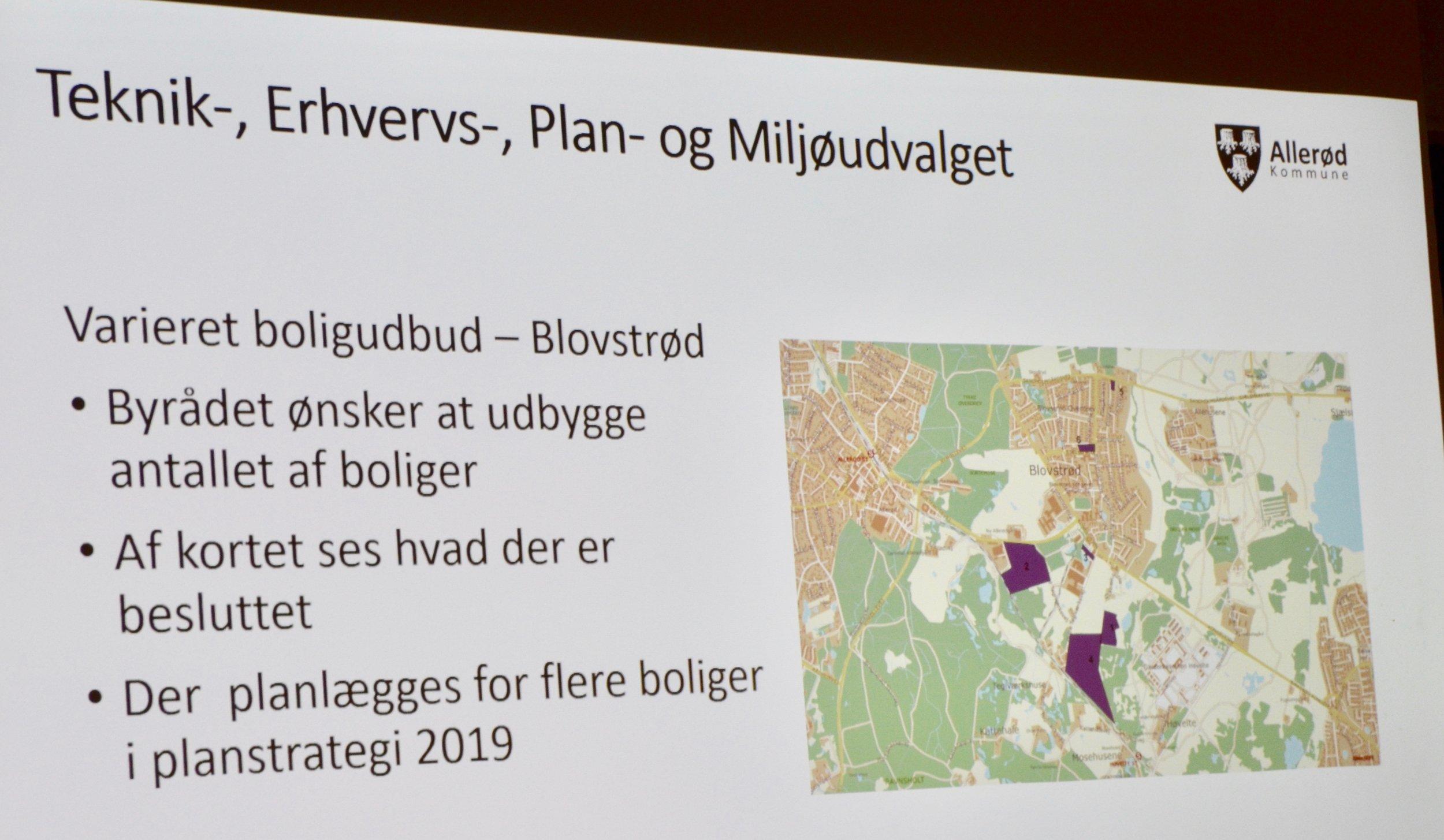 På planen ses 7 områder, hvor der er besluttet at udbygge i Blovstrød. Foto: AOB LÆS OGSÅ:    Hvor bygger man boliger i Blovstrød og hvornår?