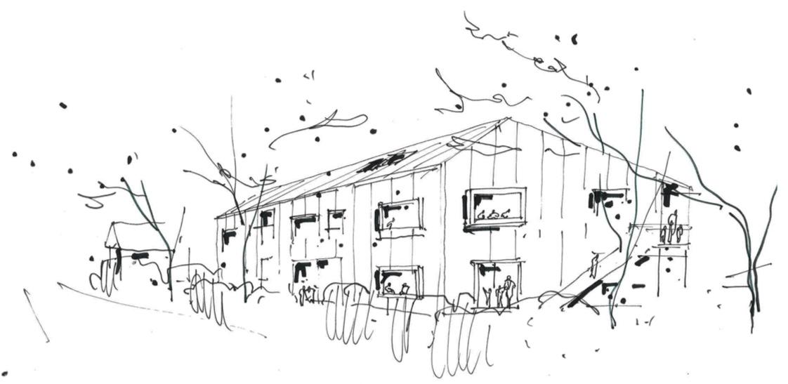 Børnehus 2 set fra Byagervej.   Perspektivskitse: Vilhelm Lauritzen Arkitekter