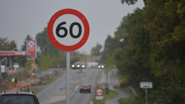 Lige inden man når byskiltet 'Blovstrød' står der, at nu må man køre 60 km/t - er det en fælde? Foto: AOB