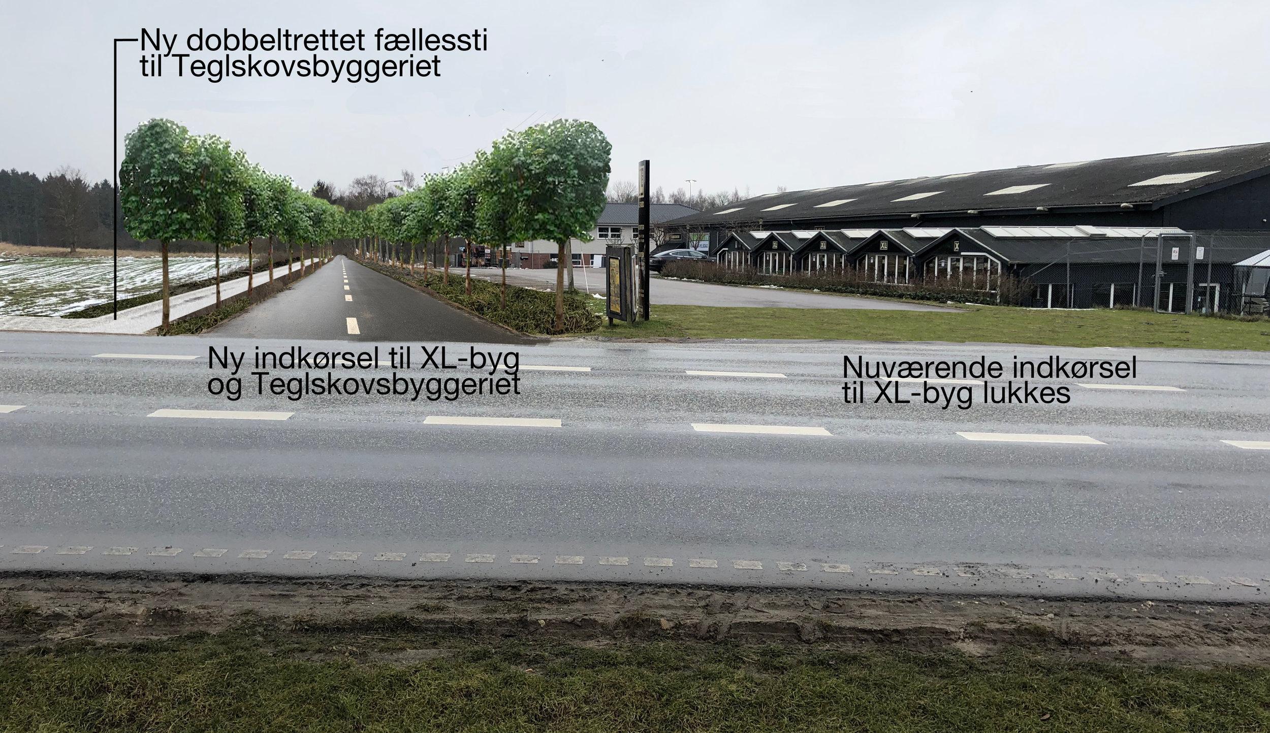 Som det fremgår af ovenstående manipulerede foto, lukkes den nuværende indkørsel til XL-byg, og der etableres en ny indkørsel lige øst for med adgang til XL-byg og det fremtidige Teglskovs-byggeri. Spørgsmålet er, om fællesstien bliver sparet væk? Illustration: AOB