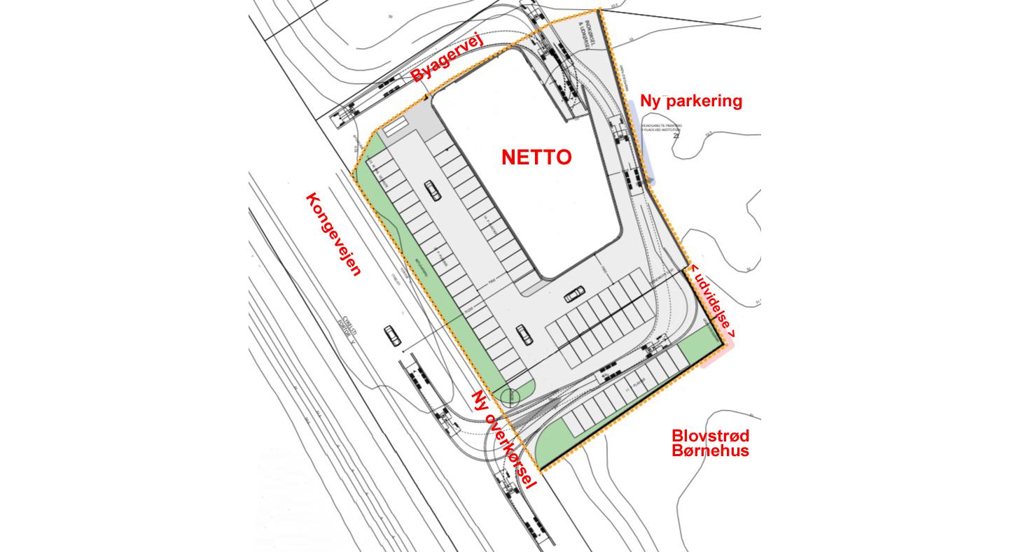 Illustrationsplan fra lokalplanforslaget viser den nye overkørsel direkte fra Kongevejen til Netto, og som udføres ved parkeringspladsens udvidelse mod syd. Tekster: AOB