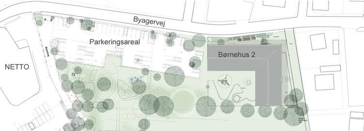 Situationsplanen viser, hvor Børnehus 2 placeres helt mod øst, og hvor der er afsat et parkeringareal for ca. 60 personbiler. Illustration: Vilhelm Lauritzen Arkitekter.