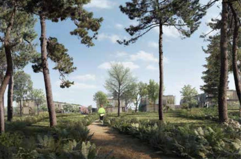 Bebyggelsen udformes som en tæt-lav bebyggelse, hvor Tegl-skovens landskabelige kvaliteter trækkes ind i boligområdet. Illustration: White arkitekter