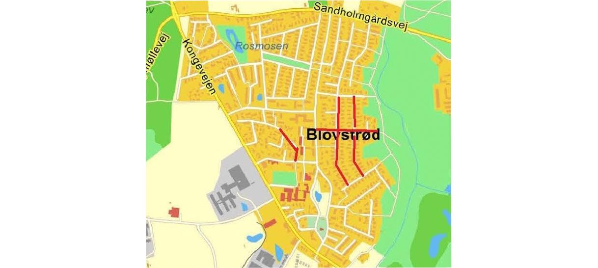 På kortet er angivet de seks veje i Blovstrød, som har haft besøg af uvedkommende her i påsken.