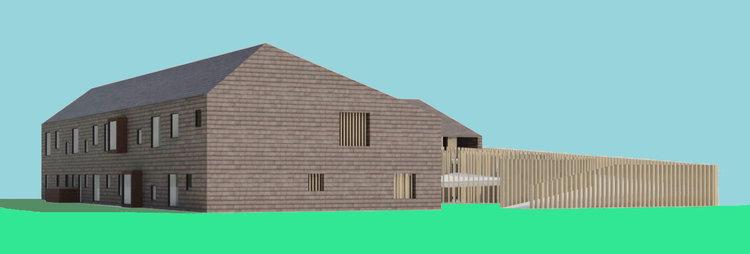 Som det fremgår af illustrationen, bliver der tale om en 2-etages bygning med et asymmetrisk saddeltag. Bygningen er planlagt med røde tegl på både facade og tag. Illustration: Vilhelm Lauritzen Arkitekter
