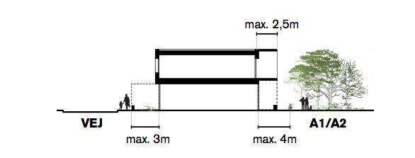 Principsnit i de 2-etagers boliger. Illustration: White arkitekter