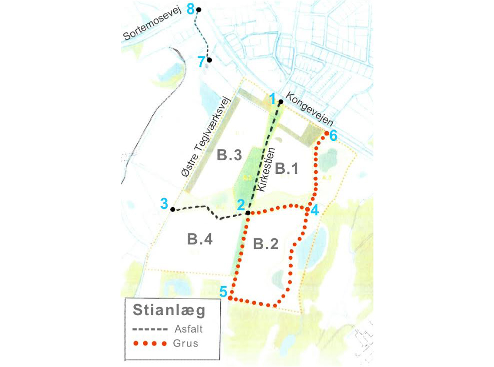Stianlæggene omring de fire byggefelter. Illustration: Allerød Kommune. Tekster: AOB