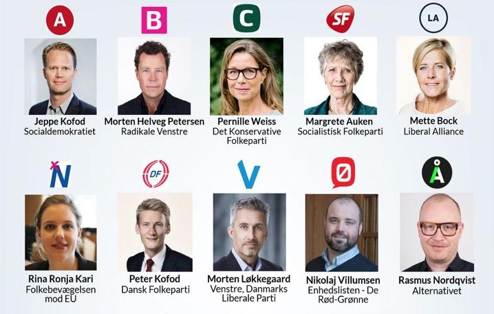 Ti danske partier og bevægelser kæmper om vælgernes gunst ved valget til Europa-Parlamentet. Her er spidskandidaterne.