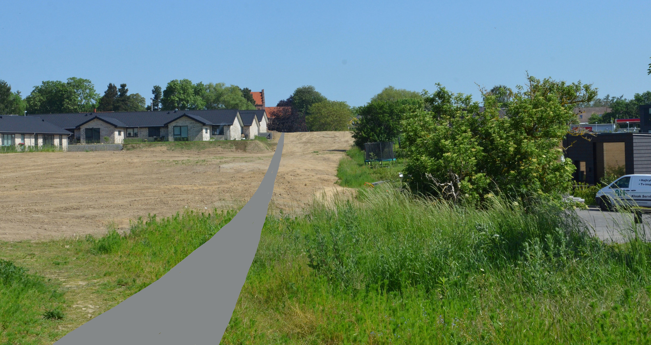 Skitsen viser Kirkestiens fremtidige forløb fra Kongevejen og ned i dalen - forbi det fremtidige brede grønne areal. Illustration: AOB
