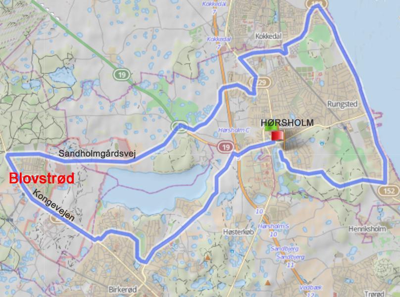 Her ses ruten på 33 km, hvor cyklisterne kommer ad Kongevejen fra syd og drejer mod øst ad Sandholmgårdsvej.