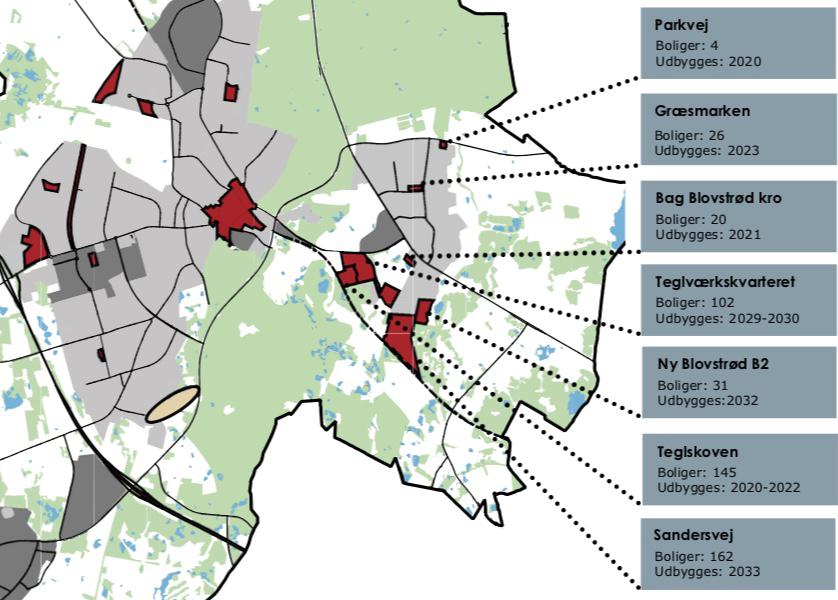 Der er syv boligudbygningsområder i Blovstrød frem til 2033. Illustration: Allerød kommune