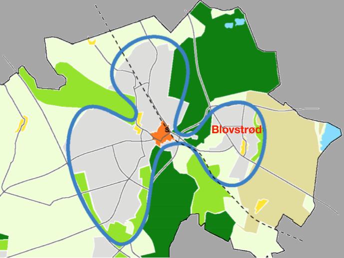 AOB har fra forslaget til kommunes nye planstrategi specielt set på den fremtidige boligudbygning i Blovstrød. Illustration: Allerød Kommune