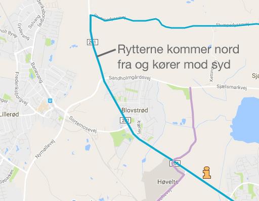 I Blovstrød bliver der mulighed for at stille sig op langs ruten, når feltet kommer ind på Kongevejen ved Stumpedyssevej og fortsætter syd på ad Kongevejen.