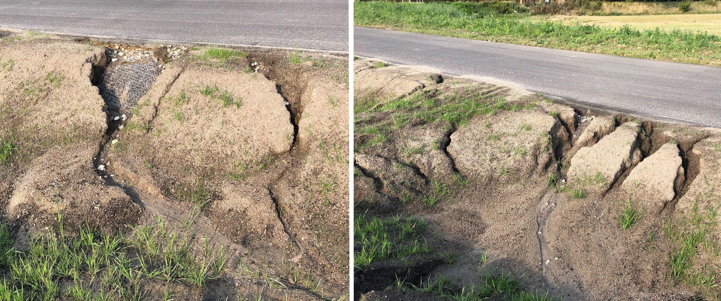 Flere steder ser det voldsomt ud, hvor jorden på kanterne er skyllet ned i bunden af grøften. Foto: AOB