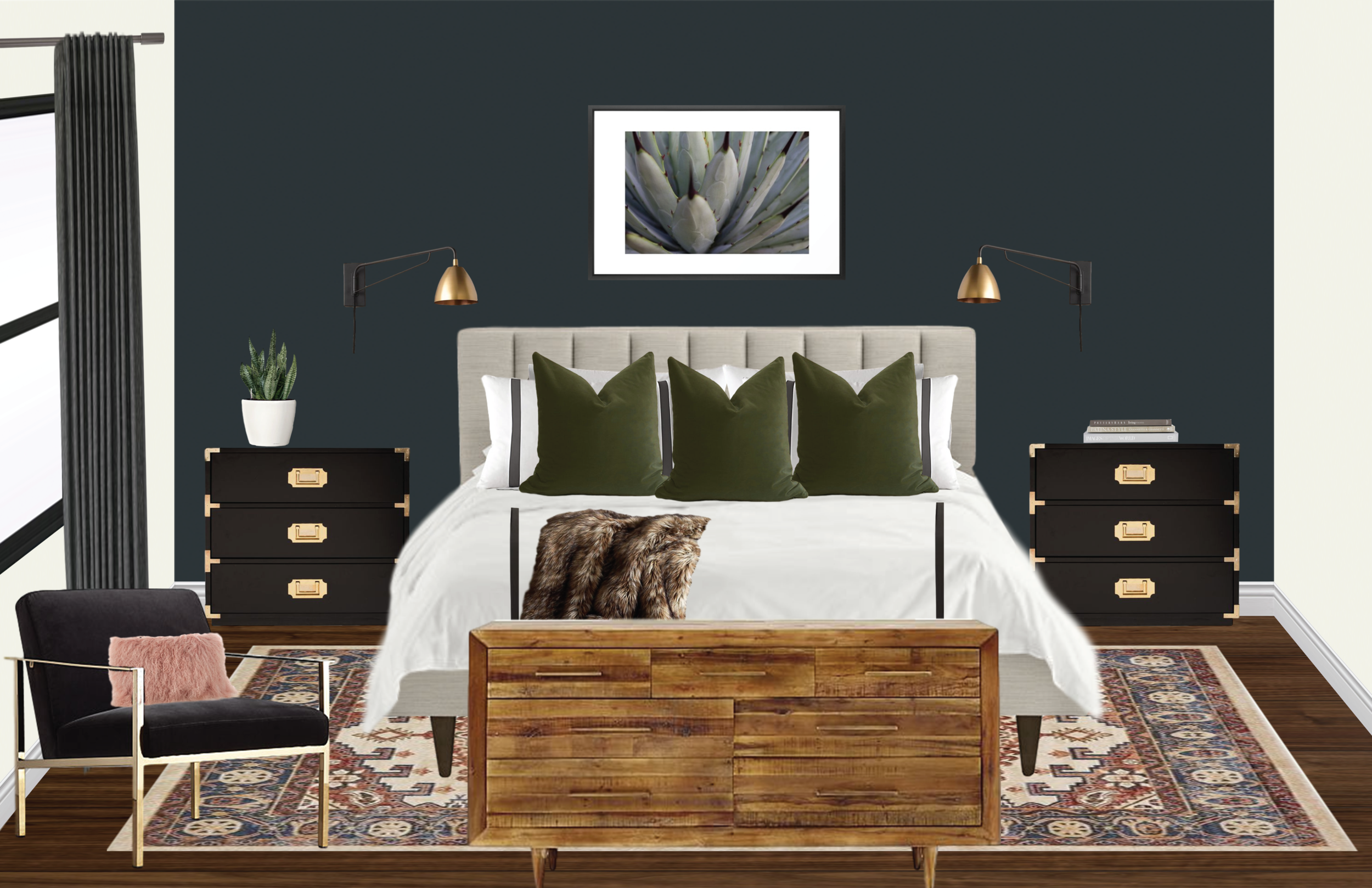 modern glam master bedroom navy accent wall.png