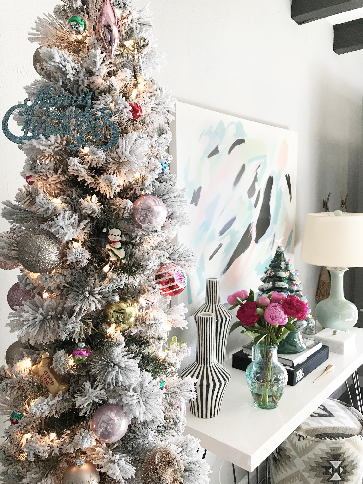 Flocked Christmas Tree Entryway