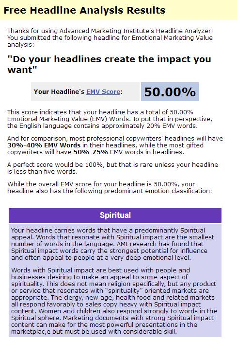 Emotional Headline Analysis results