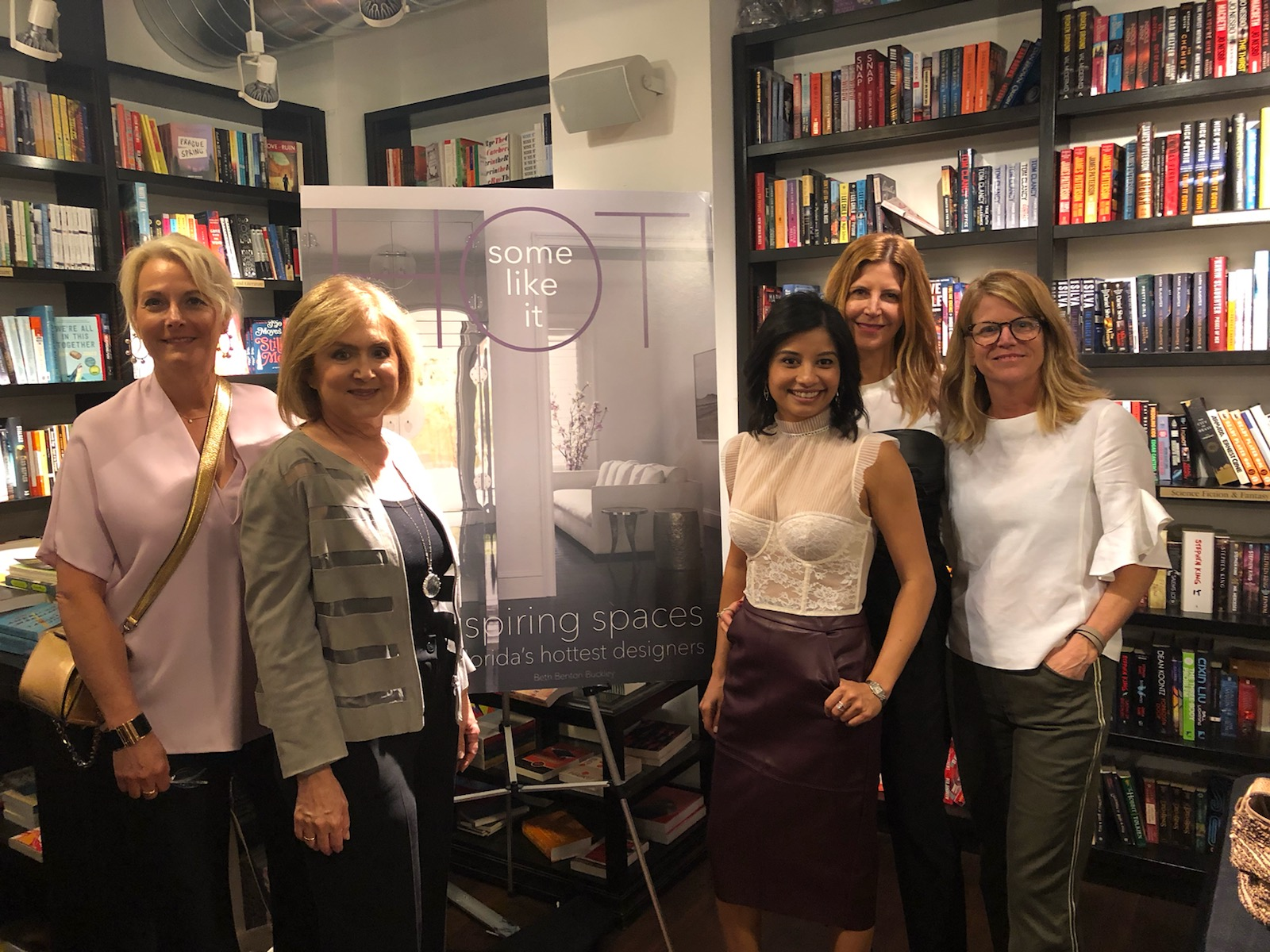 From left to right: Interior designers Amy Herman, Fanny Haim, Lachmee Chin, Sharron Lannan, and principal publisher Beth Buckley.