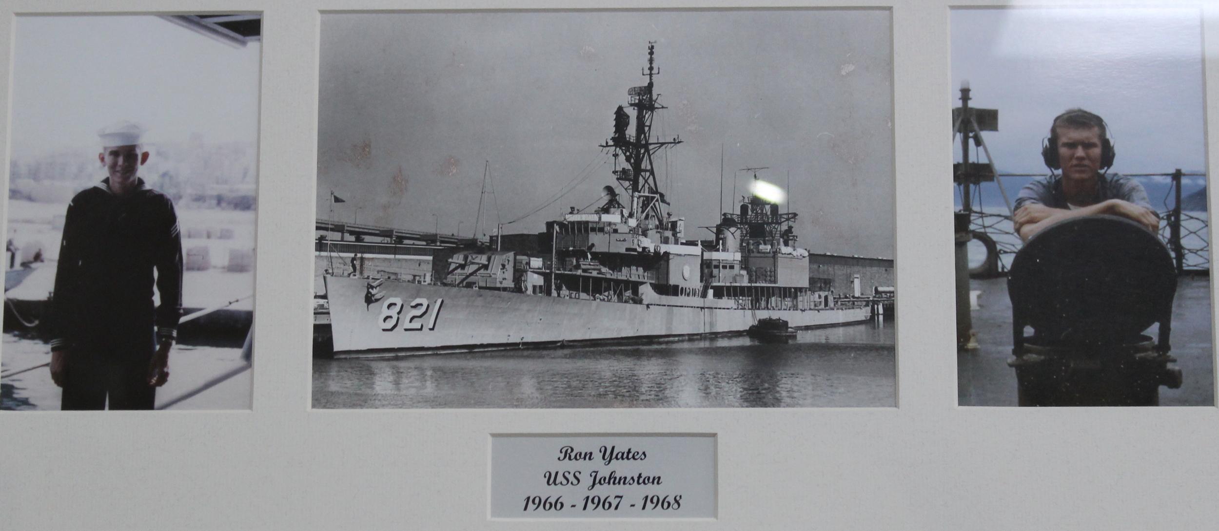 Ron Yates aboard the USS Johnston