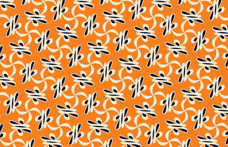 Kacy Print Tangerine/Cream