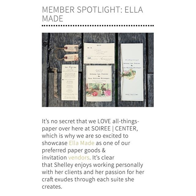 Thanks so much for the member spotlight shoutout @soireecenter 💕 Feeling the love. (👉🏼Link to blog in bio @soireecenter ) #customdesign #custominvitations #weddinginvitations #letterpress #santabarbaradesign #weddingvendor #weddingsuite