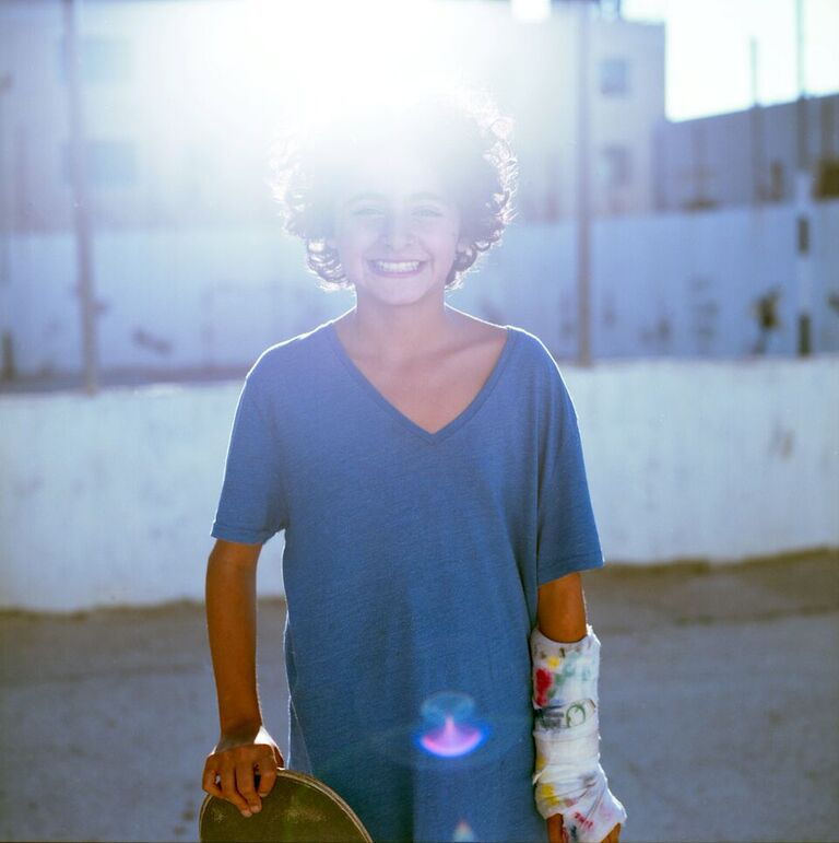 Palestinian kid - Happy with the skateboard