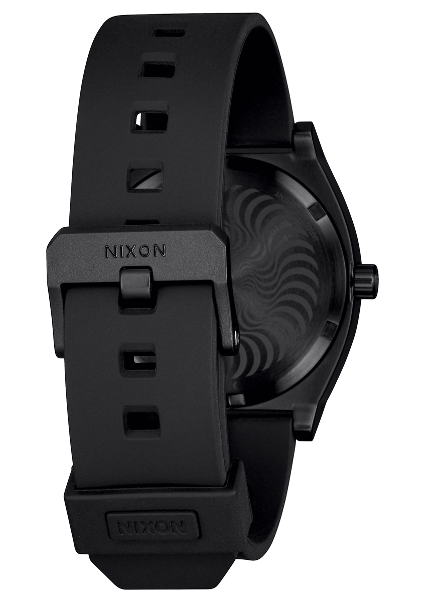 "Time Teller - Black/Swirl - 110 € / £85  With a super comfortable silicone ""skate strap"" this is a 10 ATM, 37 mm watch. The face sucks you in with that captivating Spitfire Swirl and gets you to inspect the mini Bighead logo on the seconds hand. It's one of the smallest details the Nixon team has ever added"