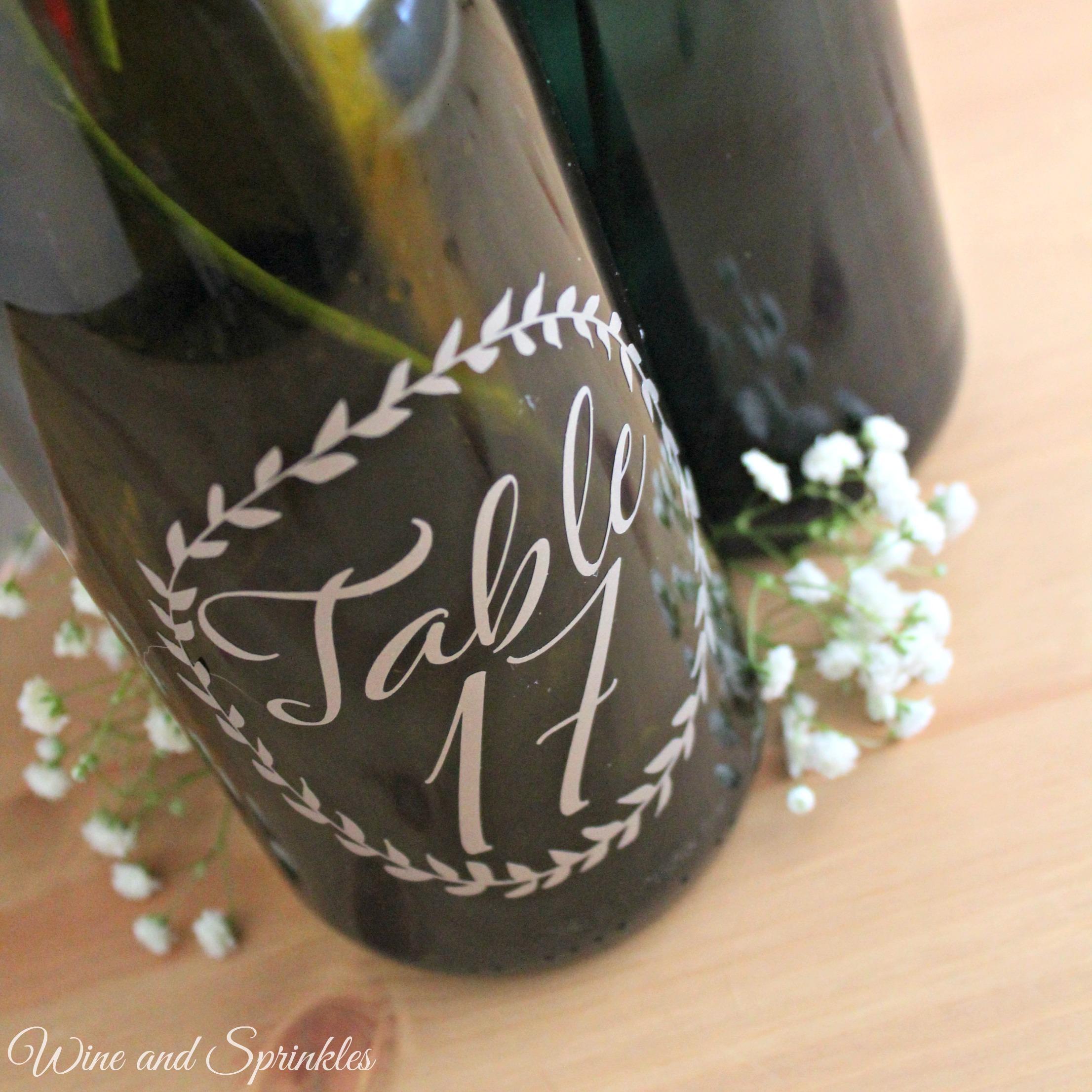 DIY Wreath Wine Bottle Table Numbers #diywedding #cricutprojects #tablenumbers #winebottlecrafts