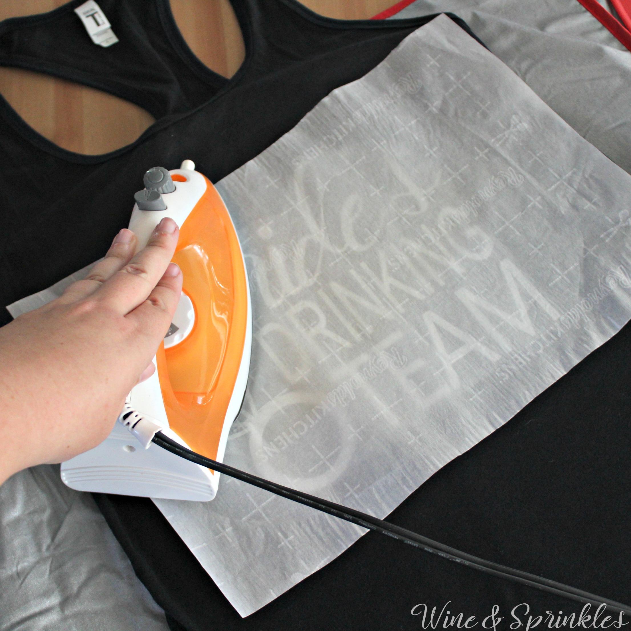 Free Cut Files! - DIY Iron On Brides Drinking Team Bachelorette Tank Tops #diywedding #bacheloretteparty #buymeashot #cricutprojects