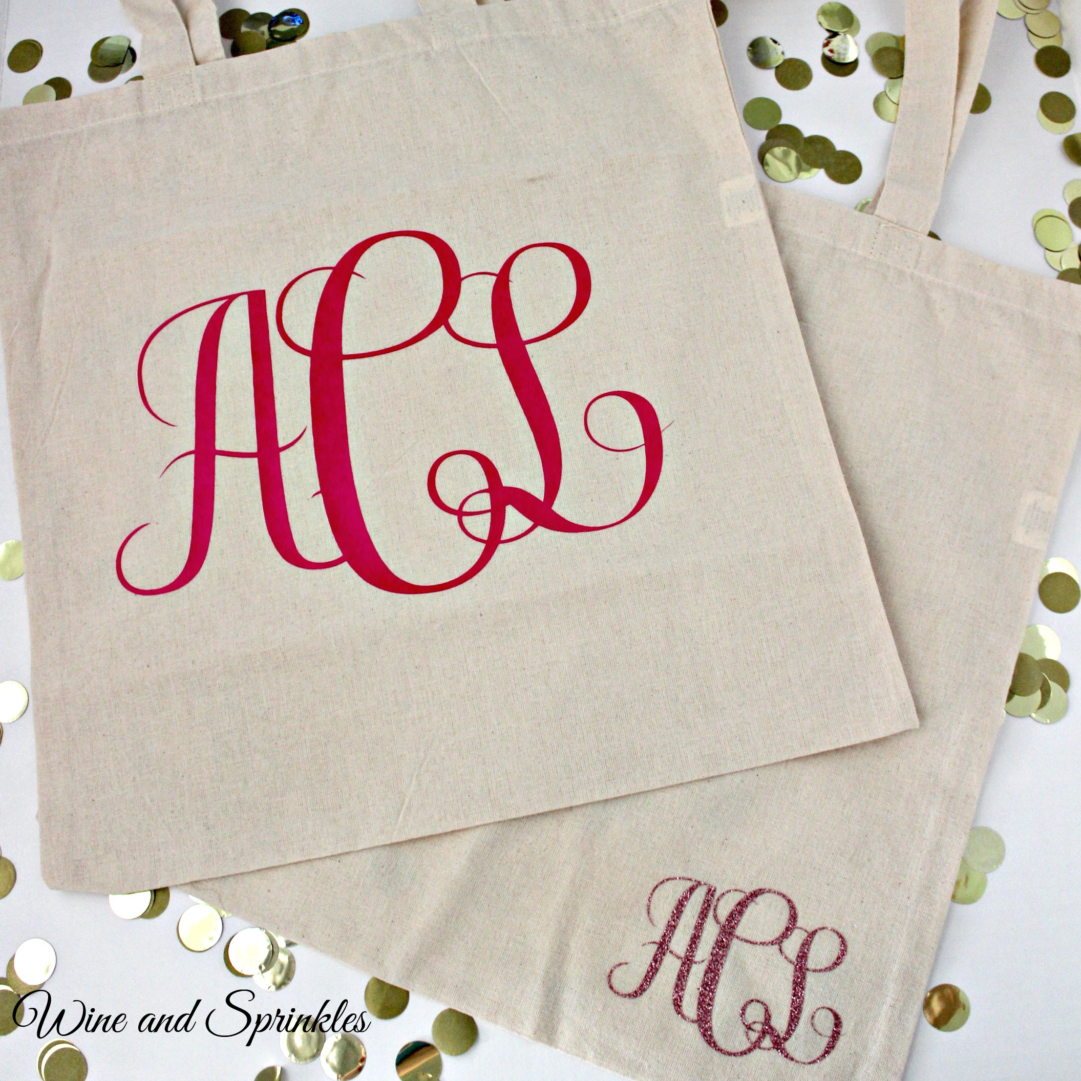 DIY Monogram Bridal Canvas Tote Bags #diywedding #cricutprojects #monogram