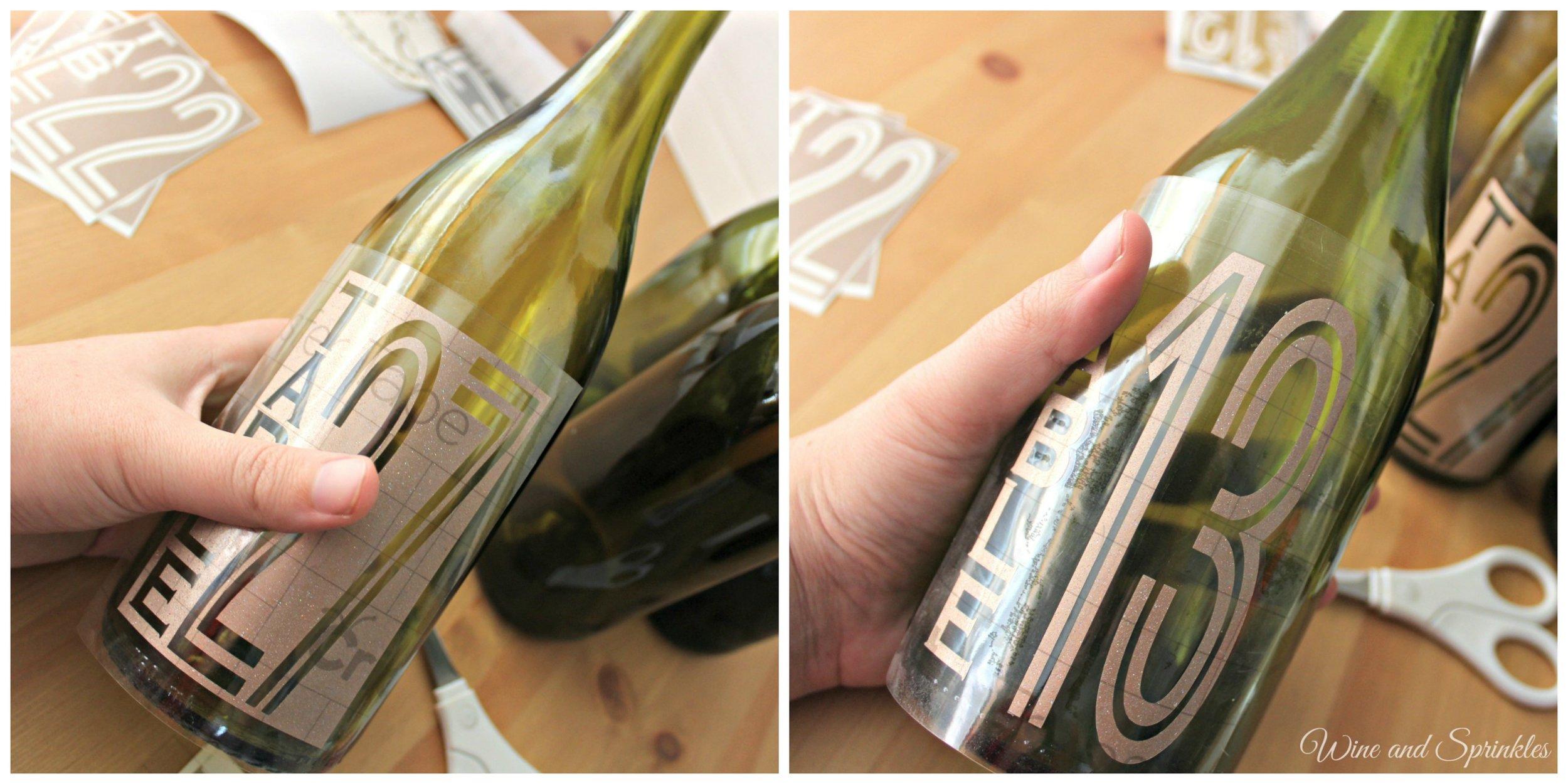 DIY Vinyl Modern Wine Bottle Table Numbers - Free Cut Files! #cricutprojects #diywedding #tablenumbers