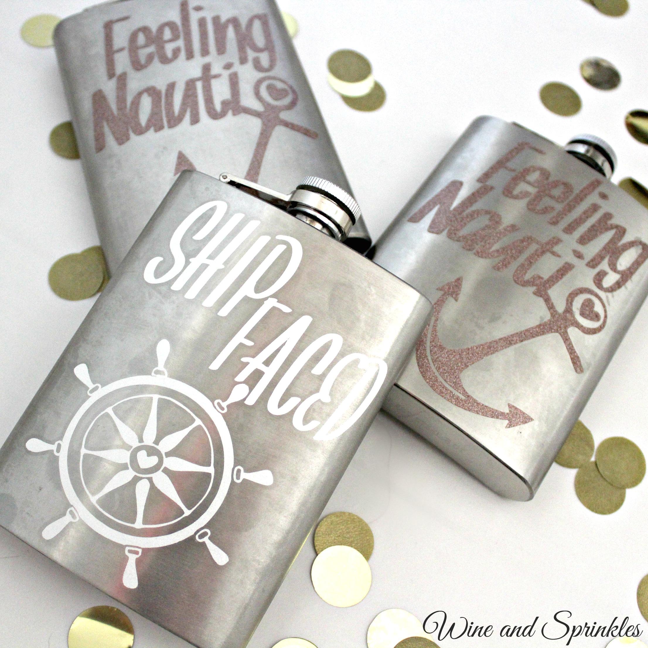 DIY Nautical Bachelorette Party Flasks #bachelorette #cricutprojects #shipfaced #feelingnauti