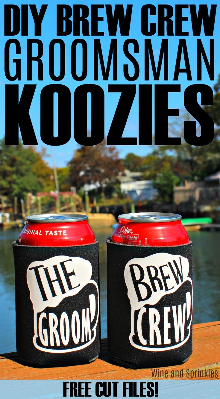 DIY Iron On Brew Crew Groomsman Koozies #cricutprojects #groomsman #koozies #brewcrew