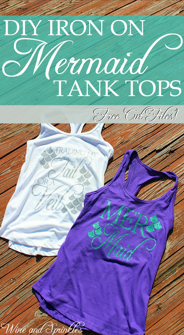 DIY Iron On Mermaid Bachelorette Tank Tops #mermaid #bachelorette #cricutprojects