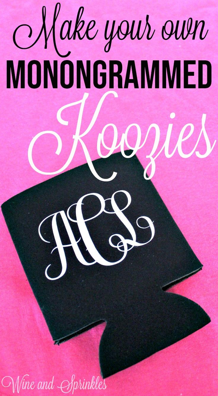DIY Iron On Monogrammed Koozies #cricutprojects #cricut #koozies #monogram