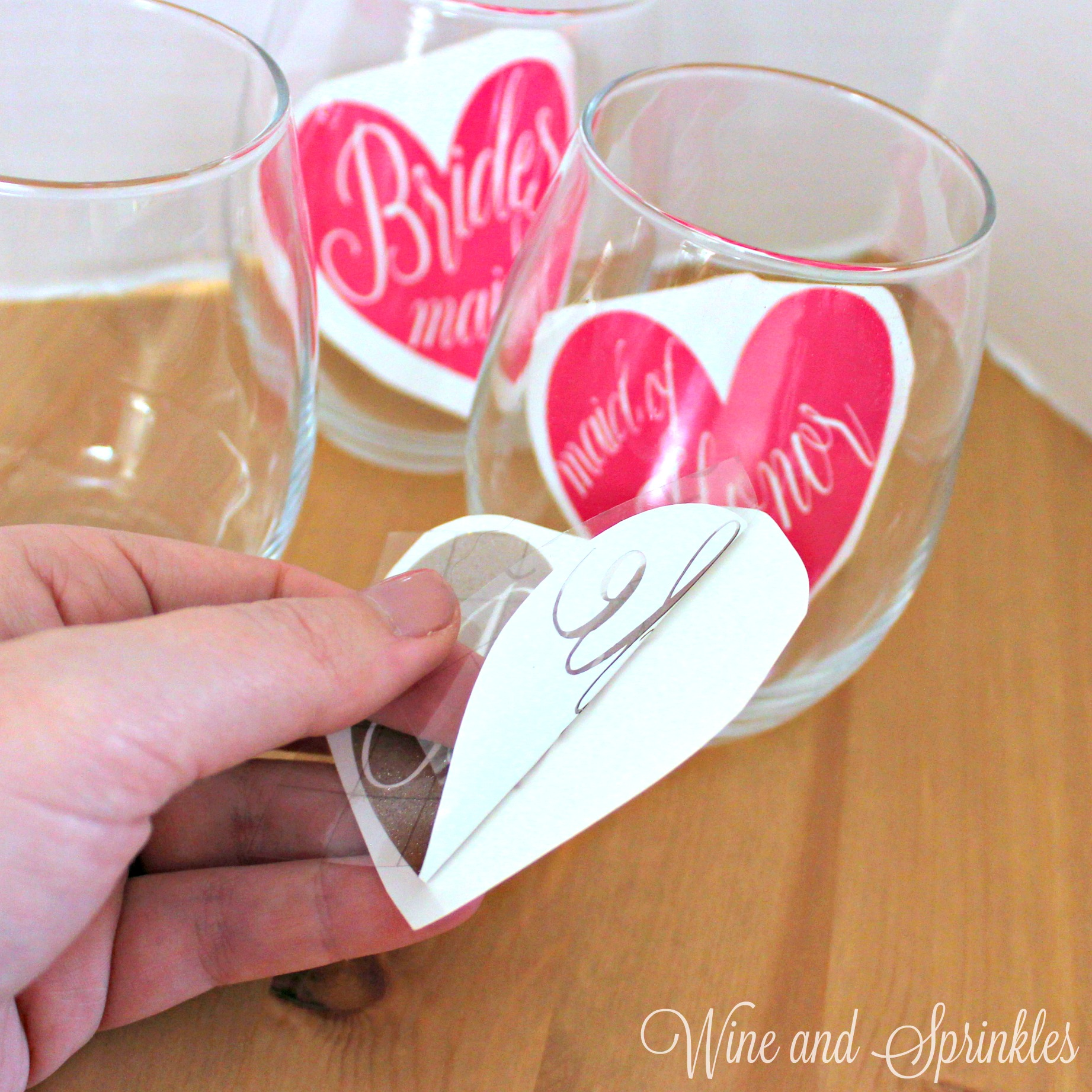 3. removal with text.jpgDIY Vinyl Bridal Party Heart Stemless Wine Glasses #bridesmaid #svgfiles #cricutprojects
