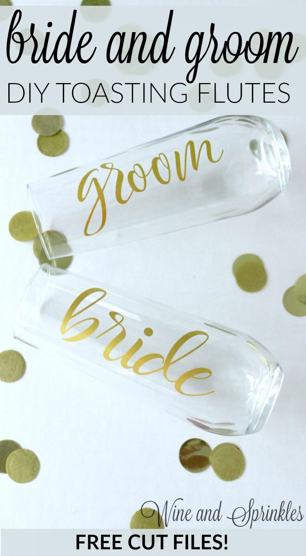 DIY Vinyl Bride and Groom Wedding Toasting Flutes #diywedding #svgfiles #cricutprojects