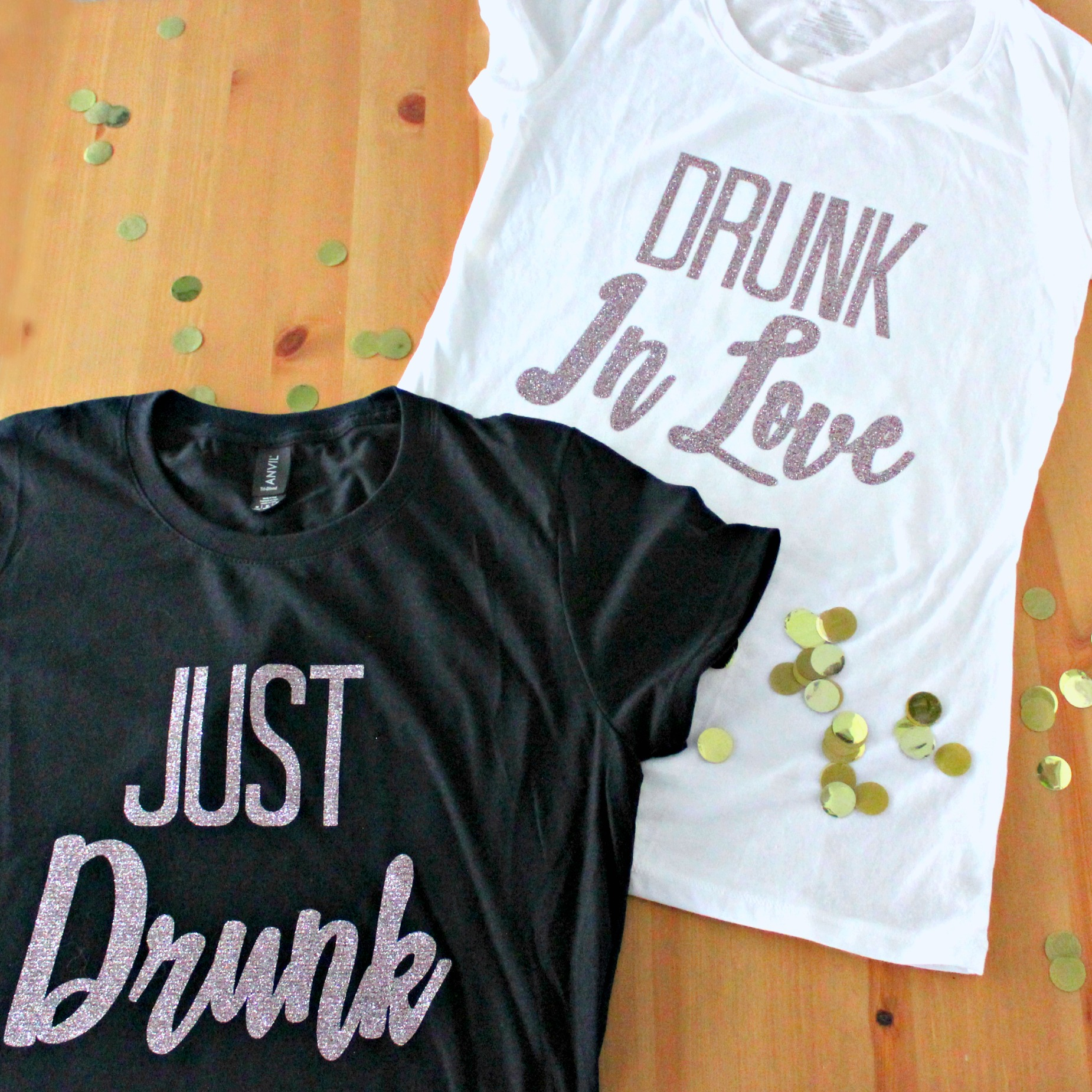 DIY Iron On HTV Bachelorette Drunk in Love - Just Drunk T-Shirts #bachelorette #svgfiles #cricutprojects