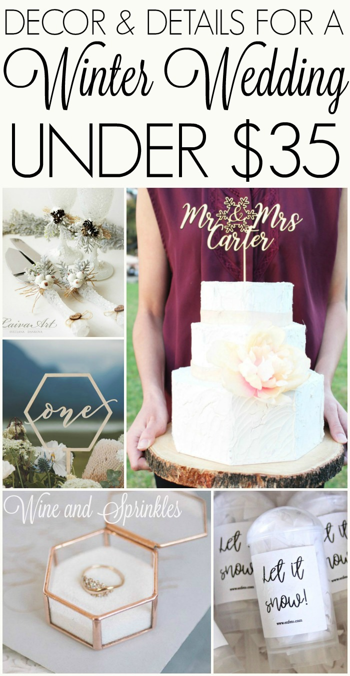 Winter Wedding Details and Decorations Under $35 #winterwedding #budgetwedding